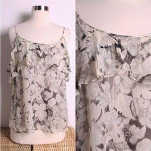 Rebecca Taylor Gray Cream Floral Silk Cami Tank 4